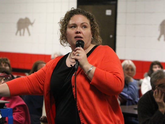 Courtney Williams of Peekskill speaks during a meeting