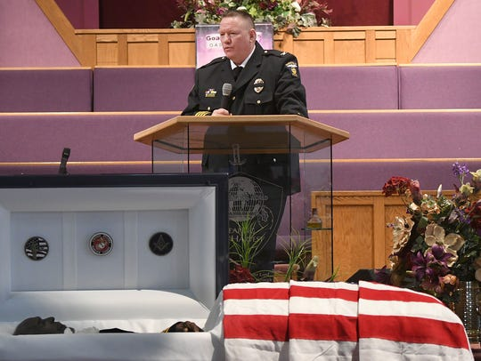 Chief Kenneth Coontz speaks during the funeral for