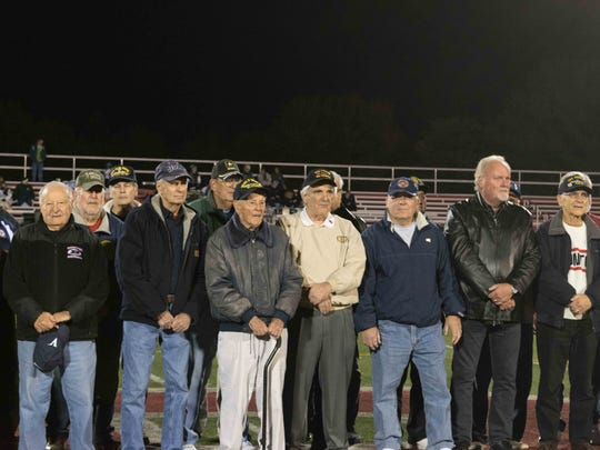 Boonton High School Veterans honored at halftime of football game. Oct. 14, 2016