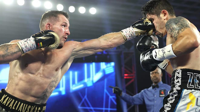 Egidijus Kavaliauskas, left, will face Vergil Ortiz Jr. on Saturday night in Frisco, Texas.