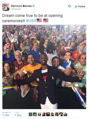 """Harrison Barnes said on Twitter it was a """"dream come true"""" to be at the 2016 Olympics Opening Ceremony."""