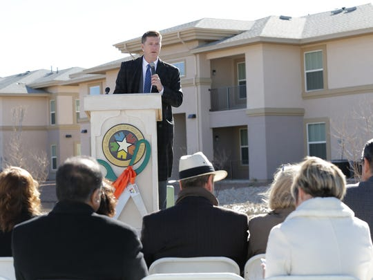 Housing Authority of the City of El Paso CEO Gerald Cichon speaks during the grand opening of the newly reconstructed Haymon Krupp Community in east El Paso. The housing complex was the first of the communities to be completed under HACEP's  $1 billion revamp of El Paso public housing.