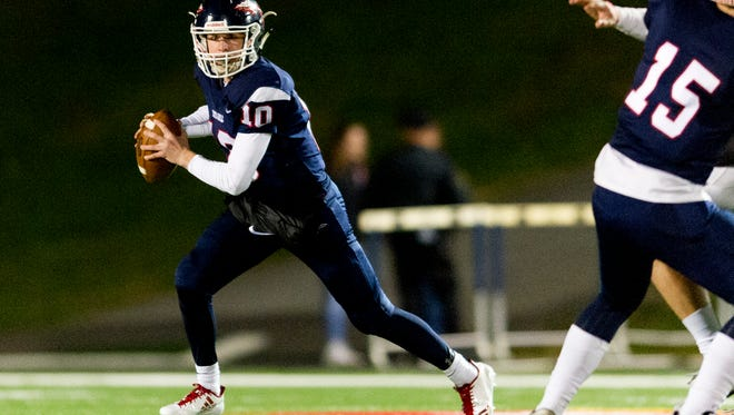 South-Doyle's Mason Brang (10) looks to pass during a game between South-Doyle and Central high schools at South-Doyle High School in Knoxville, Tennessee on Friday, November 17, 2017.