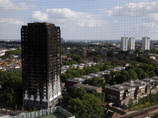 The remains of Grenfell Tower in London.