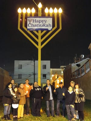 A large menorah in downtown Vineland commemorates Hanukkah.