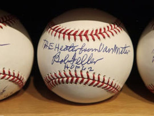 From 2010: Autographed baseballs sit on display at the Bob Feller Museum in Van Meter, which has since closed.