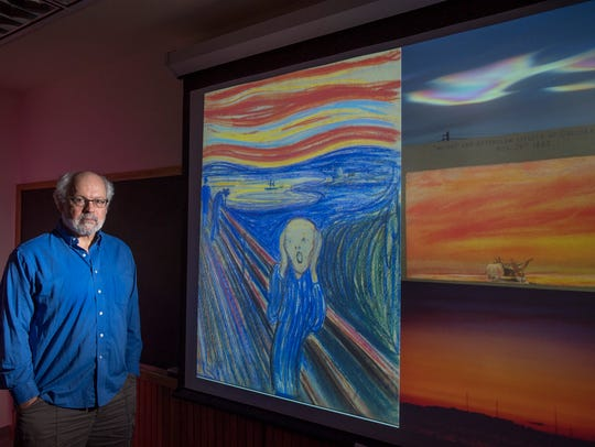 "Rutgers Professor Alan Robock with The Scream, an 1895 painting by Norwegian artist Edvard Munch. Scientists suggest that nacreous, or ""mother of pearl,"" clouds inspired the dramatic sky in the painting. Also from top to bottom on the right: nacreous clouds in Antarctica; artwork showing the London sky in 1883 after the Krakatau eruption; and a 1982 volcanic sunset in Madison, Wisconsin, after the eruption of El Chichon in Mexico."