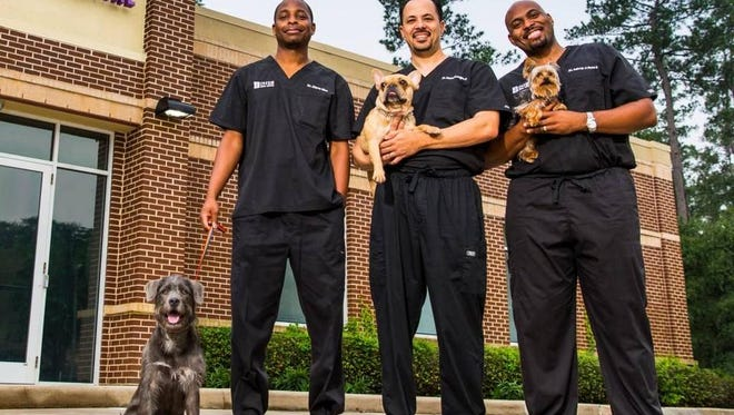 """From left: Diarra Blue, Aubrey Ross and Michael Lavigne as seen on Animal Planet's new series, """"The Vet Life."""""""