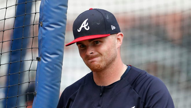 Sean Newcomb takes the field during batting practice Monday before the Braves began a series with the Miami Marlins.