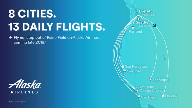This promotional map released by Alaska Airlines shows the destinations it plans for its new service from Paine Field in Everett, Wash.