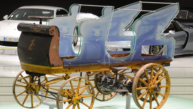 A P1, the first Porsche construction from 1898, is on display at the Porsche Museum in Stuttgart, Germany. The P1, designed by Ferdinand Porsche, was discovered in a private barn in 2013 and will now be displayed in the museum of car manufacturer Porsche.