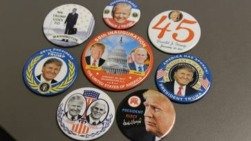 Marion resident Brandon Saxton designed and produced several campaign buttons for the inauguration of President-elect Donald J. Trump. Saxton and his father, Dan, collect political memorabilia.