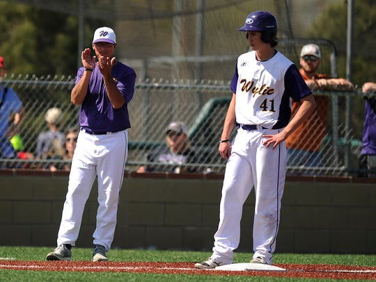 Wylie head coach Clay Martin  (left) cheers on his