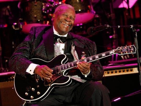 In this June 20, 2008 file photo, musician B.B. King performs at the opening night of the 87th season of the Hollywood Bowl in Los Angeles.
