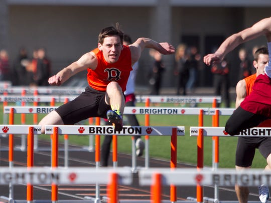 Nick Marquis took second for the Bulldogs in the hurdles event, competing against Milford on Brighton's home track.