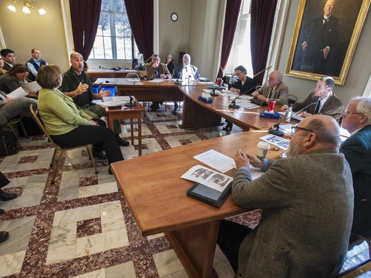 Patrick Bosco, a retired special agent with the U.S. Fish and Wildlife Service, left, testifies last year before the House Committee on Fish, Wildlife and Water Resources at the Statehouse in Montpelier in favor of a bill to ban the sale of ivory and rhinoceros horn.