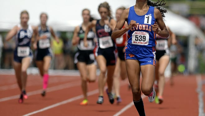 Livonia senior Hayleigh Palotti, shown here at a past high school outdoor track and field state championship meet, will continue to run at Jacksonville University.