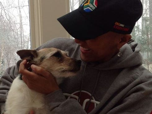 Robin Roberts is reunited with her dog, KJ, on Dec. 29, 2012.