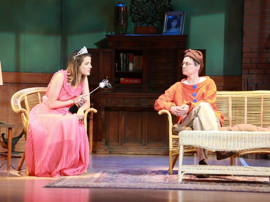 """Nina (Melissa Marye Lehman) and Vanya (Geoff Tarson) get ready for the costume party and discuss artistic pursuits in Half Moon Theatre's """"Vanya and Sonia and Masha and Spike."""""""