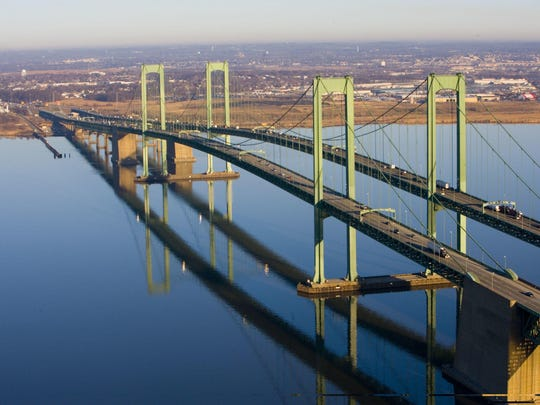 Aerial shot of the Delaware Memorial Bridge, which is at the center of a political showdown in New Jersey.