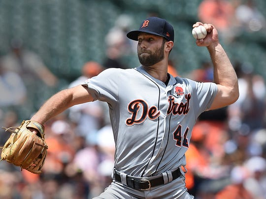 Detroit Tigers pitcher Daniel Norris throws against the Baltimore Orioles in the first inning of a baseball game Monday, May 27, 2019, in Baltimore, Md. (AP Photo/Gail Burton)