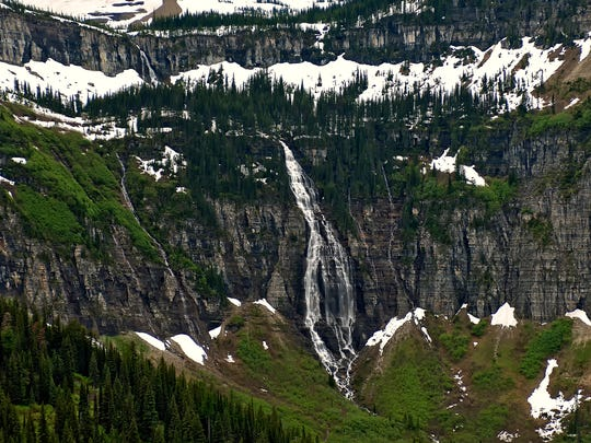 Bird Woman Falls is highly recognizable by those who have been on the Going-to-the-Sun Road. It is named after Lewis and Clark's guide, Sacagawea.