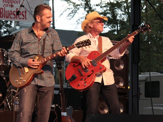 Columbus blues artist, Sean Carney (left) who returns for 2019, and bassist Sam Williams play during a past Granville Hot Licks Bluesfest. Carney spent the first 12 years of his life in Granville.