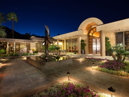 The entrance courtyard of the Palm Springs home of Jim Houston, one of the Coachella Valley's most prominent philanthropists.