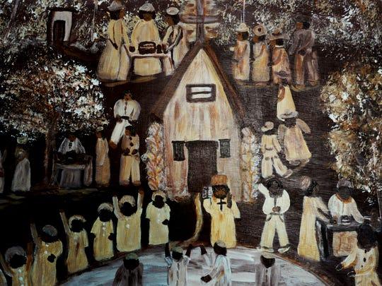 A painting at Bertha Harris's Folk Art Gallery on Kings