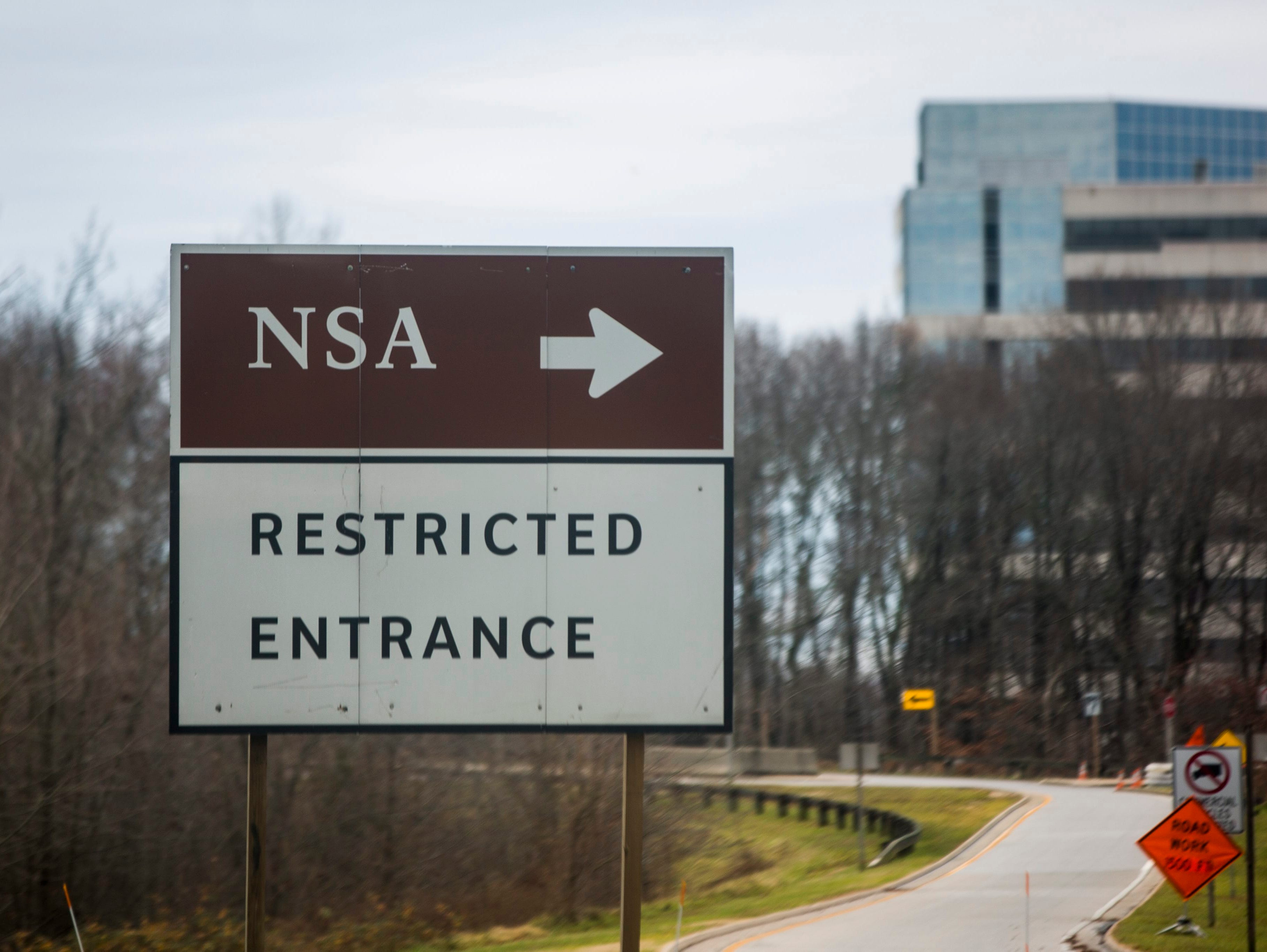 A road sign for the headquarters of the National Security Administration (NSA) is seen in Fort Meade, Maryland, USA, 22 December 2013.