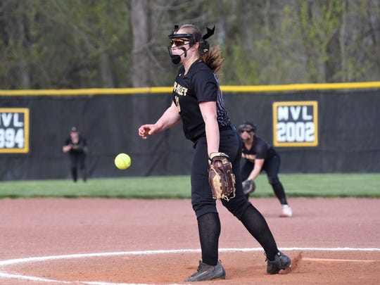 Janessa Dawson fires a pitch during the first inning of Tri-Valley's 9-3 win against visiting Philo on Wednesday at Kenny Wolford Park.
