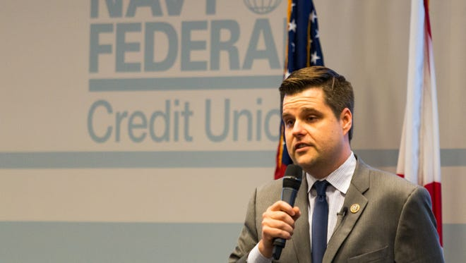 Rep. Matt Gaetz speaks during a town hall at Navy Federal Credit Union on Friday, April 20, 2018.