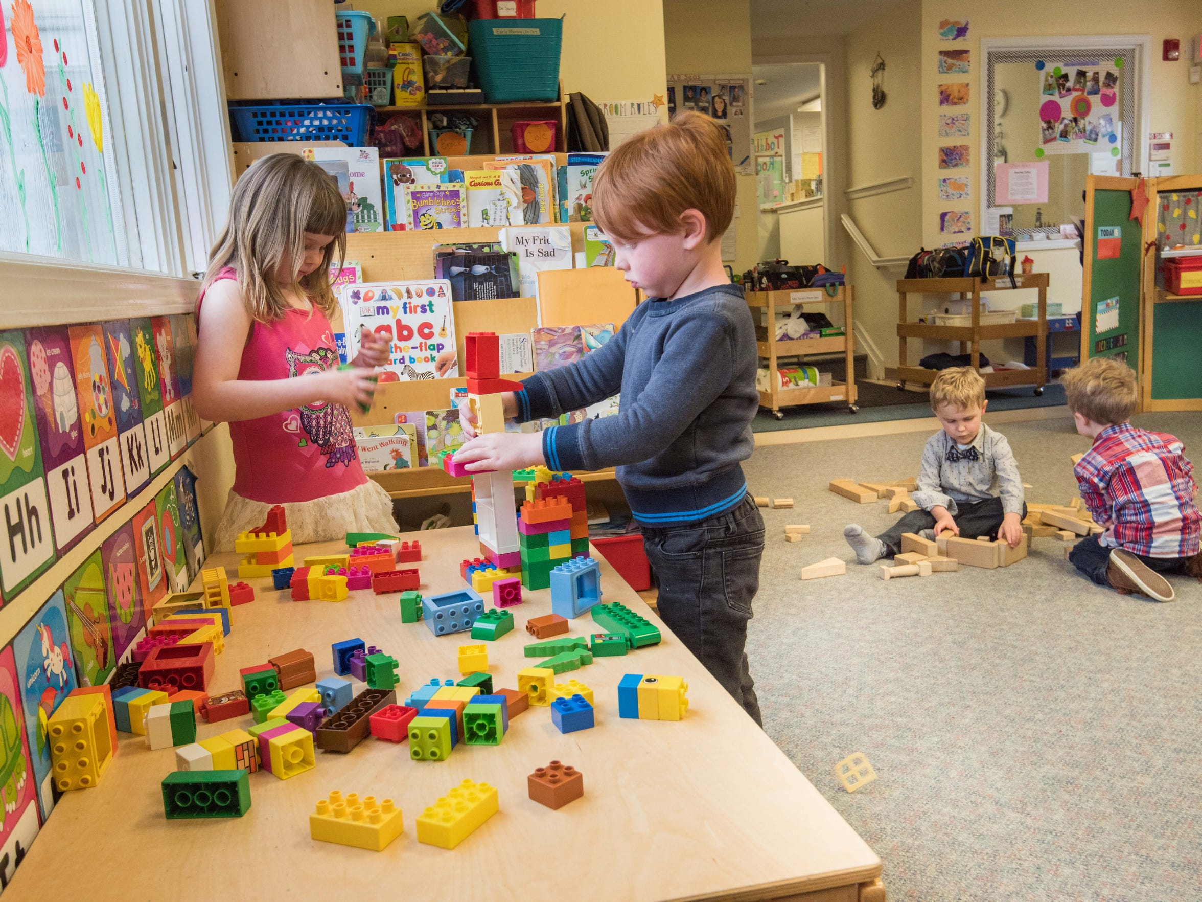 4/16/18-  Sophia Fecher (5) , Middletown  and Sebastian Cox - (4 ) Atlantic Highlands  build a house at AB Seas Pre-School and Daycare, Middletown. Photo/James J. Connolly/Correspondent