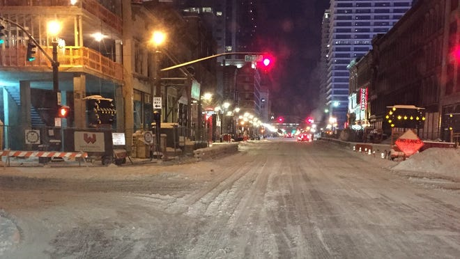 Snow still covered Main Street just before 7.a.m. on Tuesday.
