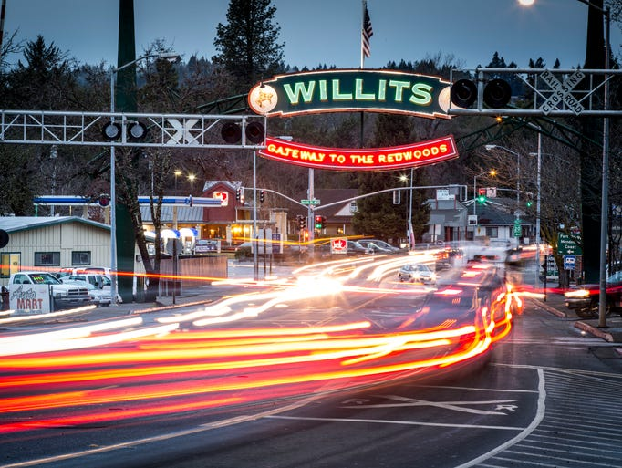 Main Street in Willits, Calif., is buzzing with traffic. <p>The town has a population of 5,000 and had 89 days of water as of last week, assuming no major rain or forest fires, City Manager Adrienne Moore says.</p>