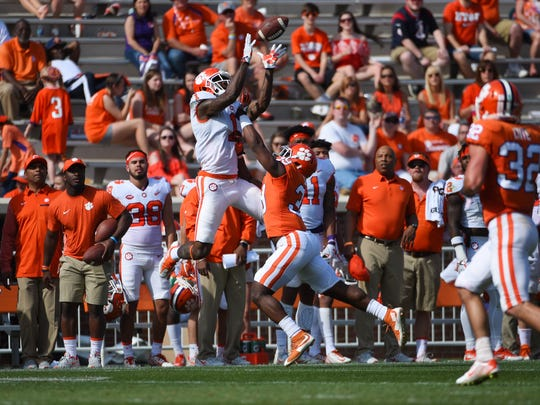 Clemson receiver Trevion Thompson makes a catch against