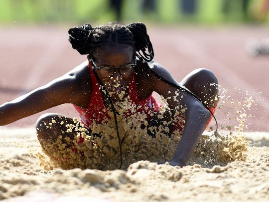Kennedy's Benae Johnson won the triple jump during the first day of the Passaic County Track Championships held at Wayne Hills High School on Tuesday, May 8, 2018.