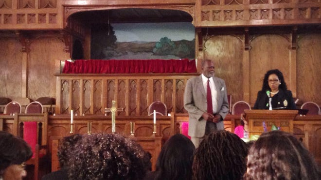 Richard Donnell, Mass Communication Award recipient, is honored Sunday at Unity Temple Church of God in Christ.