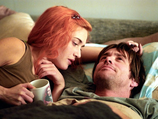 Kate Winslet and Jim Carrey in a scene from the motion