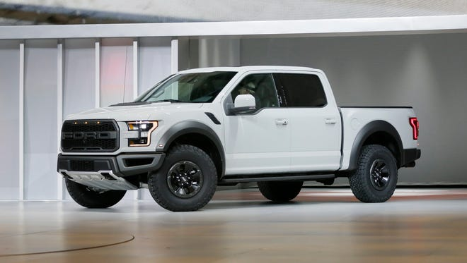 The 2017 Ford F-150 Raptor is revealed at the North American International Auto Show.