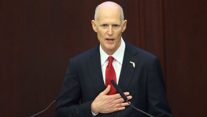 Gov. Rick Scott delivers his last State of the State address on the first day of the legislative session, Tuesday, Jan. 9, 2018, in Tallahassee.