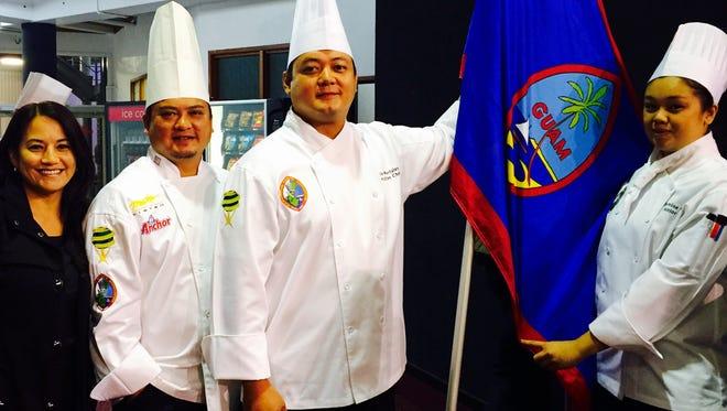 From left, Monica V. Duenas, Team Guam coach Chef Peter Duenas, Meskla chef Ernie Merfalen II and Guam Community College culinary standout Jasmine Nadres.