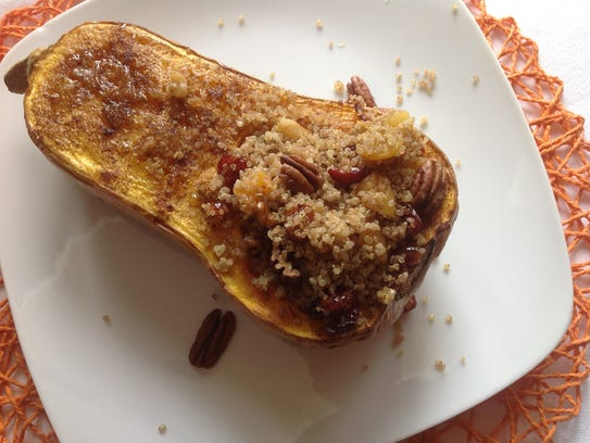 Butternut squash is stuffed with quinoa filled with