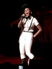 Janelle Monae performs at the Flint benefit concert.