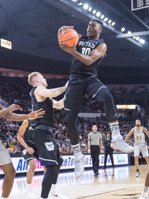 Jan 15, 2018; Providence, RI, USA; Butler Bulldogs forward Kelan Martin (30) grabs a rebound against the Providence Friars during the first half at Dunkin Donuts Center.