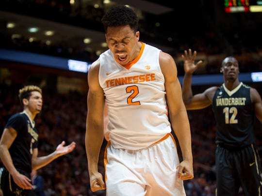 Tennessee's Grant Williams (2) celebrates a call during Tennessee's game against Vanderbilt at Thompson-Boling Arena on Wednesday, Feb. 22, 2017. Tennessee lost to Vanderbilt 67-56.