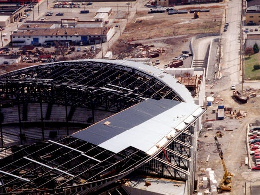 This is a view of the Nashville Arena under construction