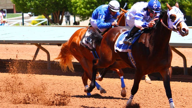 Pyc Disco with jockey Cody Jenson aboard dashed into first place during the fourth trial Friday afternoon at the Ruidoso Downs Race Track.