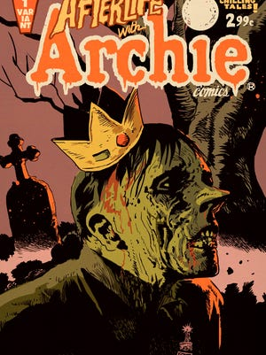 "This image released by Archie Comics shows ""Afterlife With Archie,"" a series debuted Oct. 9. The series written by Roberto Aguirre-Sacasa and illustrated by Francesco Francavilla sees Archie, Betty, Jughead, Veronica and others, including Sabrina the Teenage Witch, enveloped in apanoply of incantations, elder gods, the undead and zombies, too."