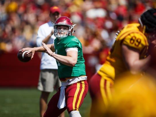 Iowa State's Zeb Noland looks to pass during the Cyclones'